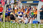 Danny Wren Shannon Rangers in action against Denis McElligott Austin Stacks in the First Round of the Kerry Senior Football Championship at O'Rahilly Park Ballylongford on Sunday.