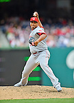 12 April 2012: Cincinnati Reds pitcher Alfredo Simon in action against the Washington Nationals at Nationals Park in Washington, DC. The Nationals defeated the Reds 3-2 in 10 innings to take the first game of their 4-game series. Mandatory Credit: Ed Wolfstein Photo