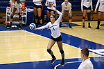 DURHAM, NC - SEPTEMBER 01: Northwestern's Taylor Tashima serves. The Northwestern University Wildcats played the University of South Carolina Gamecocks on September 1, 2017 at Cameron Indoor Stadium in Durham, NC in a Division I women's college volleyball match. Northwestern won 3-1 (13-25, 25-18, 25-18, 25-19).
