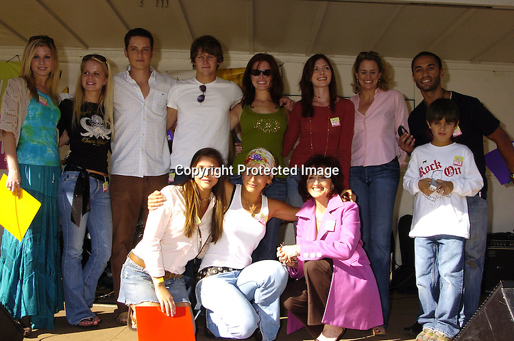 Stephenie Gatschet, Crystal Hunt, Jesse Soffer, Zach Roerig, Melissa Archer, Connie Fletcher, Cady Huffman and Kamar de los Reyes and son . front row Alexandra Chando, Jen Landon and Robin Strasser ..at Halliestock 2 benefit on September 24, 2005 at ..Sunnyside Gardens Park in Queens. This benefit raised money for Love, Hallie. ..Photo by Robin Platzer, Twin Images