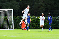 Daniel Williams of Swansea City celebrates scoring his side's first goal during the Premier League u18 match between Swansea City AFC and Chelsea FC at Landore Training Ground, Wales, UK. Tuesday 11th September 2018