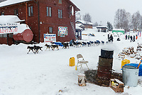 Richie Beattie and team run through the Takotna checkpoint in the morning during the 2019 Iditarod on Thurssday, March 7th 2019.<br /> <br /> Photo by Jeff Schultz/  (C) 2019  ALL RIGHTS RESERVED