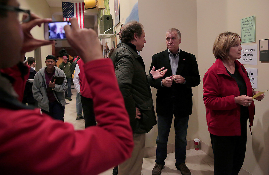 CORNELIUS, NC - NOVEMBER 1:  North Carolina candidate for U.S. Senate Thom Tillis waits in line to participate in early voting at Cornelius Town Hall in Cornelius, NC, on Saturday, November 1, 2014.  (Photo by Ted Richardson/For The Washington Post)