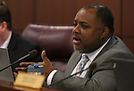 Nevada Assemblyman Jason Frierson, D-Las Vegas, works in committee at the Legislative Building in Carson City, Nev., on Thursday, May 9, 2013..Photo by Cathleen Allison