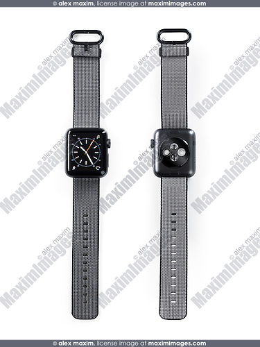 Apple Watch smartwatch front and back view isolated on black background