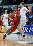 January 11, 2017:  Fresno State guard, Jason Hopkins #1, drives past Falcon guard, Jacob Van #15, during the NCAA basketball game between the Fresno State Bulldogs and the Air Force Academy Falcons, Clune Arena, U.S. Air Force Academy, Colorado Springs, Colorado.  Air Force defeats Fresno State 81-72.