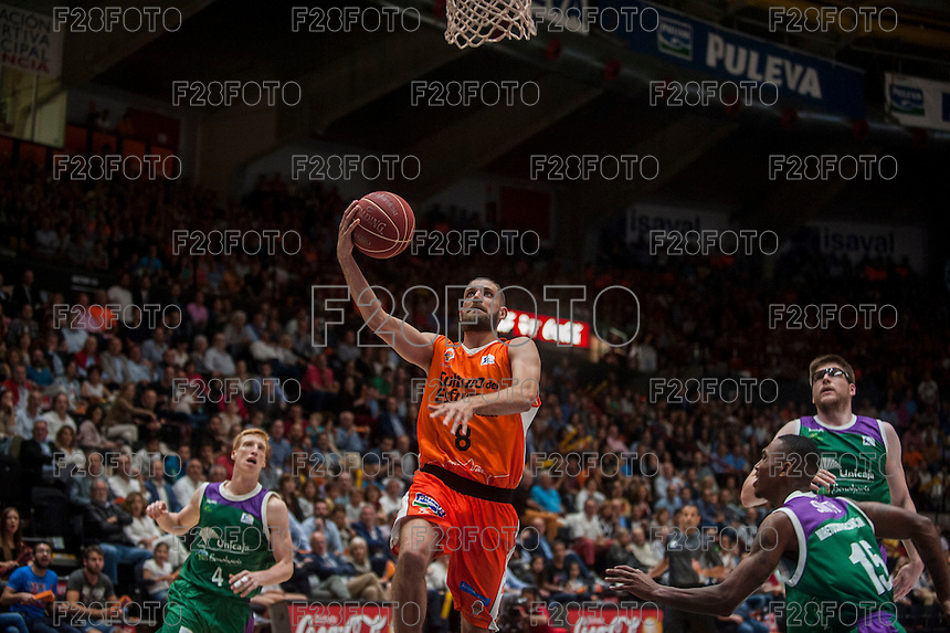 VALENCIA, SPAIN - MARCH 27: Antoine Diop during ENDESA LEAGUE Play Off match between Valencia Basket Club and Unicaja at Fonteta Stadium on March, 2016 in Valencia, Spain