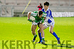 St Brendans Ivan Parker gets away from Rangers Jack Fogarty  at the Garveys SuperValu Senior Football Championship Qualifier between St Brendans and Shannon Rangers in Austin Stack Park on Friday night