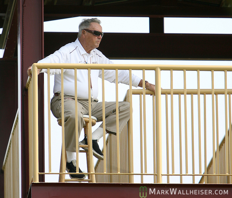 Head coach Bobby Bowden watches practice from the third story of his tower on the second day of FSU football practice August 8, 2007.   (Mark Wallheiser/TallahasseeStock.com)