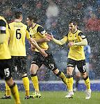 Liam Buchanan celebrates his goal