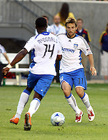 Brandon McDonald and Bobby Convey in the San Jose Earthquakes @ Real Salt Lake 1-1 draw at Rio Tinto Stadium in Sandy, Utah on July 03, 2009