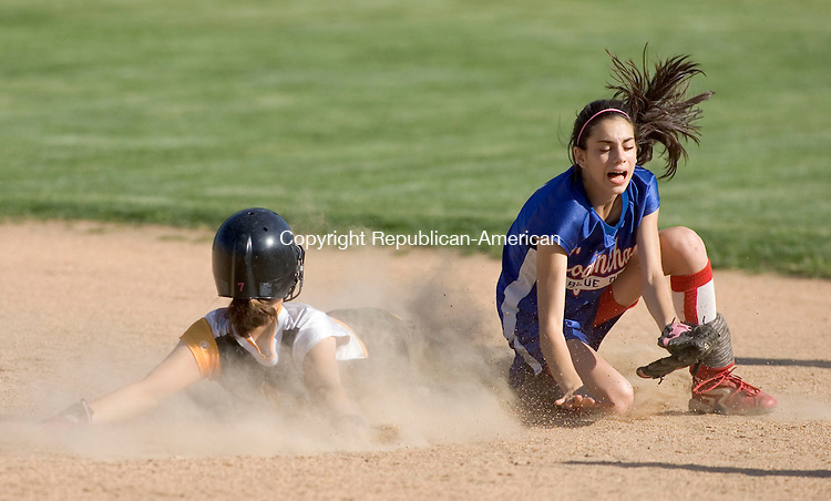 WILLIMANTIC, CT- 02 JUNE 2008- 060208JT06- <br /> Terryville's Brenda Carobini successfully steals second base as Coginchaug's Taylor Delvecchio misses the ball during Monday's Class S semifinal game at Eastern Connecticut State University in Willimantic. The Kangaroos lost 8-4.<br /> Josalee Thrift / Republican-American