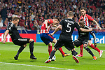 Atletico de Madrid Kevin Gameiro and Qarabag Maxim Medvedev and Donald Guerrier during UEFA Champions League match between FK Qarabag and Atletico de Madrid at Wanda Metropolitano in Madrid, Spain. October 31, 2017. (ALTERPHOTOS/Borja B.Hojas)