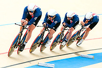 Picture by Alex Whitehead/SWpix.com - 10/12/2017 - Cycling - UCI Track Cycling World Cup Santiago - Velódromo de Peñalolén, Santiago, Chile - USA's Adrian Hegyvary, Eric Young, Ashton Lambie and Gavin Hoover compete in the Men's Team Pursuit bronze medal final.