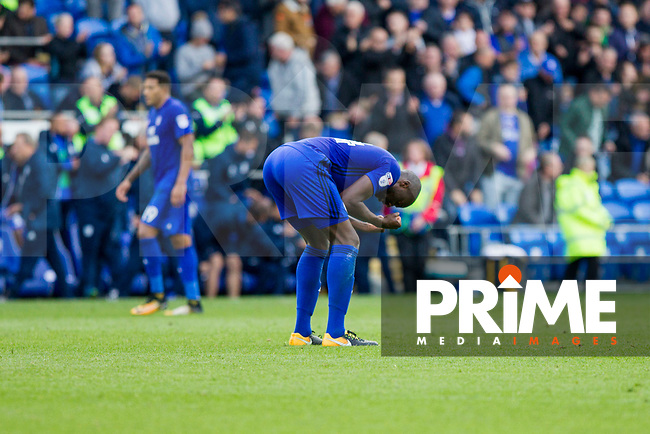 Sol Bamba of Cardiff City celebrates at the full time whistle of after scoring his side's last minute equaliser during the Sky Bet Championship match between Cardiff City and Sheffield Wednesday at Cardiff City Stadium, Cardiff, Wales on 16 September 2017. Photo by Mark  Hawkins / PRiME Media Images.