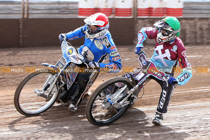Heat 4: Piotr Swiderski (red) and Kauko Nieminen (green) - Ipswich Witches vs Lakeside Hammers - Sky Sports Elite League Speedway at Foxhall Stadium, Ipswich, Suffolk  - 10/04/09 - MANDATORY CREDIT: Gavin Ellis/TGSPHOTO - Self billing applies where appropriate - 0845 094 6026 - contact@tgsphoto.co.uk - NO UNPAID USE.