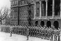 Cadets in formation in front of Old Main dormitory (© Mississippi State University)
