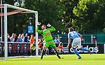 V&auml;llingby 2014-07-06 Fotboll Allsvenskan IF Brommapojkarna - Malm&ouml; FF :  <br /> Malm&ouml;s Pawel Cibicki nickar i ribban p&aring; en m&aring;lchans framf&ouml;r Brommapojkarnas m&aring;lvakt Davor Blazevic i slutet av matchen<br /> (Foto: Kenta J&ouml;nsson) Nyckelord:  BP Brommapojkarna IFB Grimsta Malm&ouml; MFF