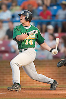 Lynchburg first baseman Steven Pearce (14) follows through on his swing versus Winston-Salem at Ernie Shore Field in Winston-Salem, NC, Saturday, June 3, 2006.  Winston-Salem defeated Lynchburg 3-2.