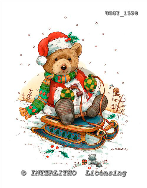 GIORDANO, CHRISTMAS ANIMALS, WEIHNACHTEN TIERE, NAVIDAD ANIMALES, Teddies, paintings+++++,USGI1598,#XA#