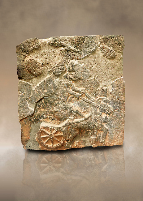 Pictures & images of the North Gate Hittite sculpture stele depicting a Hittite chariot. 8th century BC. Karatepe Aslantas Open-Air Museum (Karatepe-Aslantaş Açık Hava Müzesi), Osmaniye Province, Turkey. Against art background
