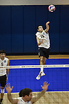 27 APR 2014: Eric Johnson of Springfield College serves against Juniata College during the Division III Men's Volleyball Championship held at the Kennedy Sports Center in Huntingdon, PA. Springfield defeated Juniata 3-0 to win the national title.  Mark Selders/NCAA Photos