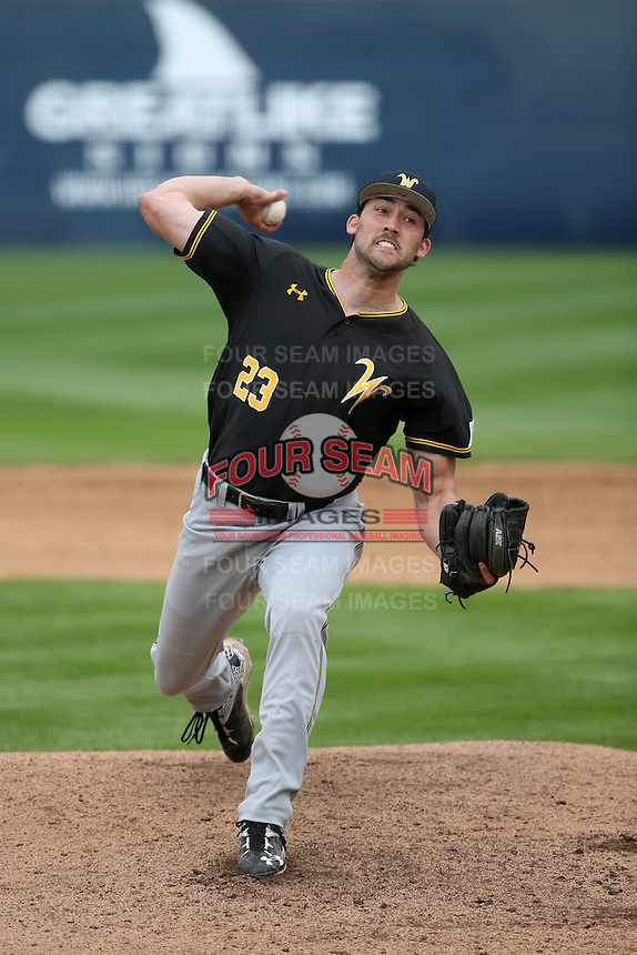John Hayes (23) of the Wichita State Shockers pitches against the Cal State Fullerton Titans at Goodwin Field on March 13, 2016 in Fullerton, California. Cal State Fullerton defeated Wichita State, 7-1. (Larry Goren/Four Seam Images)
