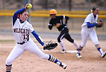Western Nevada College Wildcats' Kristina George pitches against College of Southern Idaho at Edmonds Sports Complex, in Carson City, Nev., on Friday, Feb. 27, 2015. CSI won the opener 11-2.<br /> Photo by Cathleen Allison/Nevada Photo Source