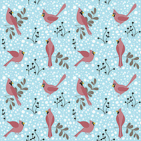 &quot;Cardinals In Snowfall&quot; is a hand illustrated scalable vector surface pattern collection - inspired by gorgeous red cardinal birds appearing in eastern US during December.<br />