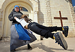 Sister Mariam Almiron, a member of the Sisters of the Incarnate Word from Argentina, spins a girl around following Sunday Mass at the Holy Family Catholic Parish in Gaza City. There are only some 3,000 Christians in Gaza, of which just over 200 are Catholic..