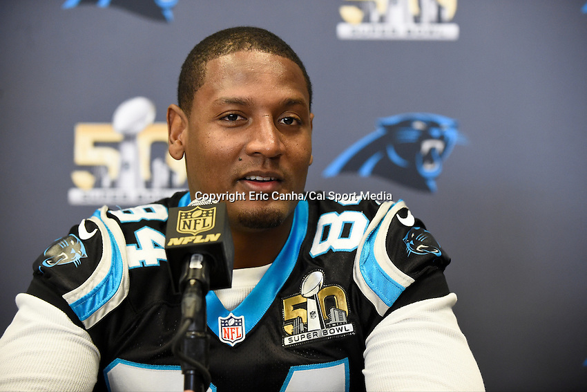 Tuesday, February 2, 2016: Carolina Panthers tight end Ed Dickson (84) talks to the media at the San Jose Convention Center during a press conference for the National Football League Super Bowl 50 between the Denver Broncos and the Carolina Panthers. Eric Canha/CSM