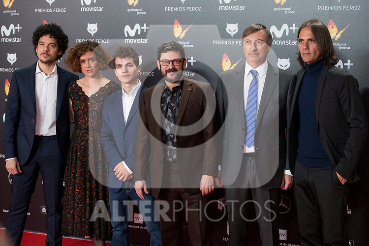 Pablo Molinero, Patricia Lopez, Sergio Castellanos, Manolo Solo and producer and director of La Peste attends red carpet of Feroz Awards 2018 at Magarinos Complex in Madrid, Spain. January 22, 2018. (ALTERPHOTOS/Borja B.Hojas)