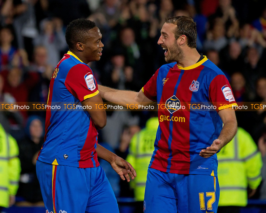 Glenn Murray, Crystal Palace FC congratulates team mate Kagisho Dikgacoi, following the opening goal - Crystal Palace vs Nottingham Forest - NPower Championship Football at Selhurst Park, London - 18/09/12 - MANDATORY CREDIT: Ray Lawrence/TGSPHOTO - Self billing applies where appropriate - 0845 094 6026 - contact@tgsphoto.co.uk - NO UNPAID USE.