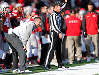 Ohio State Buckeyes head coach Urban Meyer yells last second instructions in the third quarter of the college football game between the Ohio State Buckeyes and the Indiana Hoosiers at Ohio Stadium in Columbus, Saturday afternoon, November 22, 2014. The Ohio State Buckeyes defeated the Indiana Hoosiers 42 - 27. (The Columbus Dispatch / Eamon Queeney)
