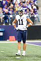 SEATTLE, WA - September 29:  BYU's Austin Lee against Washington during the college football game between the Washington Huskies and the BYU Cougars on September 29, 2018 at Husky Stadium in Seattle, WA. Washington won 27-20 over BYU.