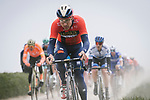 Heinrich Haussler (AUS) Bahrain-Merida followed by European Champion Matteo Trentin (ITA) Mitchelton-Scott and Greg Van Avermaet (BEL) CCC Team during the 117th edition of Paris-Roubaix 2019, running 257km from Compiegne to Roubaix, France. 14th April 2019<br /> Picture: ASO/Pauline Ballet | Cyclefile<br /> All photos usage must carry mandatory copyright credit (&copy; Cyclefile | ASO/Pauline Ballet)