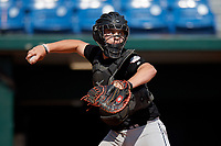 Tristan Wheelus (7) of Russellville High School in Russellville, AR during the Perfect Game National Showcase at Hoover Metropolitan Stadium on June 17, 2020 in Hoover, Alabama. (Mike Janes/Four Seam Images)