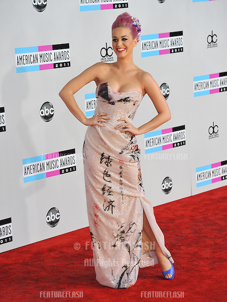 Katy Perry arriving at the 2011 American Music Awards at the Nokia Theatre, L.A. Live in downtown Los Angeles..November 20, 2011  Los Angeles, CA.Picture: Paul Smith / Featureflash