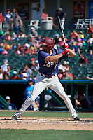 Frisco RoughRiders Preston Beck (8) bats during a Texas League game against the Amarillo Sod Poodles on May 19, 2019 at Dr Pepper Ballpark in Frisco, Texas.  (Mike Augustin/Four Seam Images)