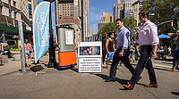 A promotion for Talkspace in Flatiron Plaza in New York promotes their Social Media Dependency Therapy (SMDT) on Wednesday, September 16, 2015. Talkspace allows you to text with a therapist and their SMDT is a 12 week program to help you mange your obsessive use of social media, such as Facebook, Instagram, Twitter, etc. (© Richard B. Levine)