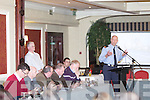 Inspector Eamon O'Neill from Newcastle West Garda Station takes questions from the crowd at a public meeting held by The N21 Barna Realignment Petition last Monday night in The Devon Inn, Templeglantine.