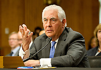 "United States Secretary of State Rex Tillerson, gives testimony before the US Senate Committee on Foreign Relations to ""Review of the FY 2018 State Department Budget Request"" on Capitol Hill in Washington, DC on Tuesday, June 13, 2017. Photo Credit: Ron Sachs/CNP/AdMedia"