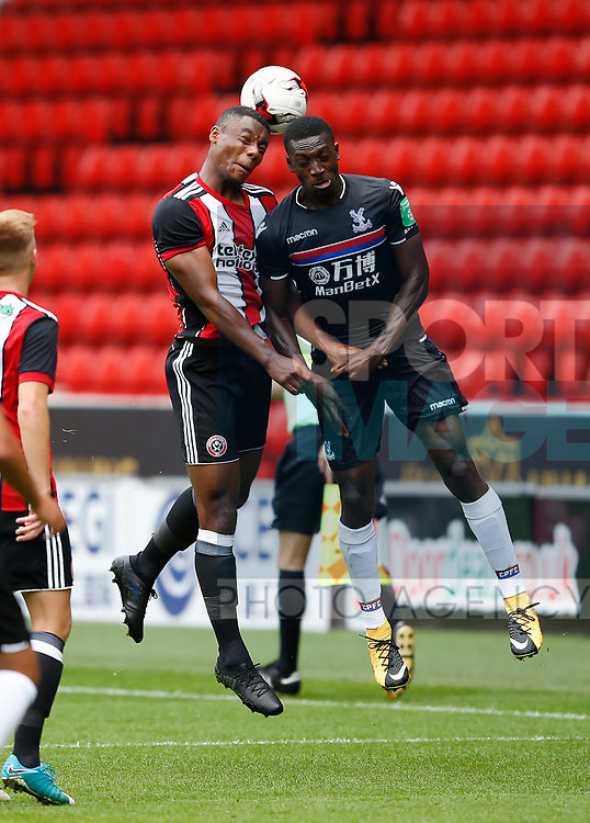 Sam Graham of Sheffield Utd wins a header during the Professional Development U23 match at Bramall Lane, Sheffield. Picture date 4th September 2017. Picture credit should read: Simon Bellis/Sportimage