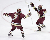 Carl Sneep 7 of Boston College and Nathan Gerbe 9 of Boston College celebrate Gerbe's goal which put BC up 1-0 on Wisconsin. The Boston College Eagles defeated the University of Wisconsin Badgers 3-0 on Friday, October 27, 2006, at the Kohl Center in Madison, Wisconsin in their first meeting since the 2006 Frozen Four Final which Wisconsin won 2-1 to take the national championship.<br />