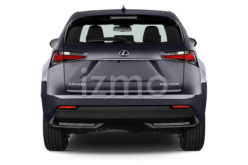 Straight rear view of a 2015 Lexus NX 300h F Sport 4WD 5 Door SUV 4WD Rear View  stock images