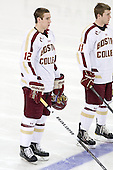 Kevin Hayes (BC - 12), Pat Mullane (BC - 11) - The visiting Merrimack College Warriors tied the Boston College Eagles at 2 on Sunday, January 8, 2011, at Kelley Rink/Conte Forum in Chestnut Hill, Massachusetts.