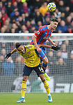 Crystal Palace's Martin Kelly wins the ball ahead of Arsenal's Pierre-Emerick Aubameyang during the Premier League match at Selhurst Park, London. Picture date: 11th January 2020. Picture credit should read: Paul Terry/Sportimage