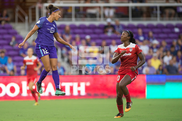 Orlando, FL - Tuesday August 08, 2017: Kristen Edmonds, Cheyna Williams during a regular season National Women's Soccer League (NWSL) match between the Orlando Pride and the Chicago Red Stars at Orlando City Stadium.