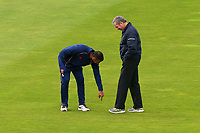 Varun Chopra of Essex and umpire Richard Illingworth assess the conditions during Yorkshire CCC vs Essex CCC, Specsavers County Championship Division 1 Cricket at Emerald Headingley Cricket Ground on 16th April 2018