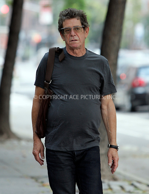 WWW.ACEPIXS.COM . . . . .  ....September 27 2011, New York City....Vintage rocker Lou Reed walking with a friend in the West Village on September 27 2011 in New York City....Please byline: CURTIS MEANS - ACE PICTURES.... *** ***..Ace Pictures, Inc:  ..Philip Vaughan (212) 243-8787 or (646) 679 0430..e-mail: info@acepixs.com..web: http://www.acepixs.com